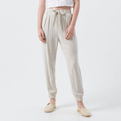 Spodnie z wysokim stanem - Kremowy