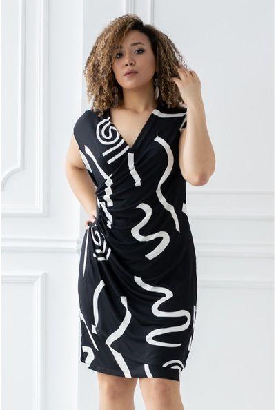 Czarna sukienka z białym wzorem - PALOMA