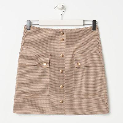Spódnica mini w kratkę - Beżowy