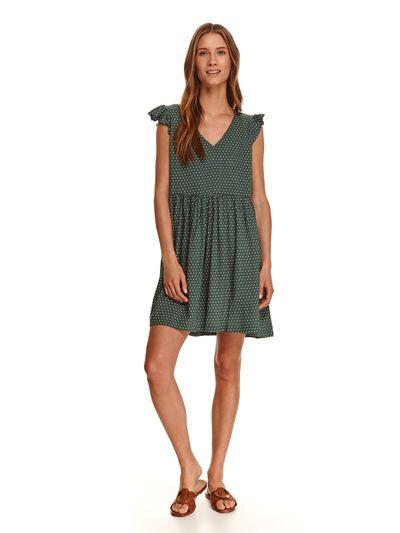 Krótka sukienka z falbankami na rękawach