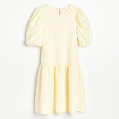 Sukienka ze strukturalnej dzianiny - Żółty
