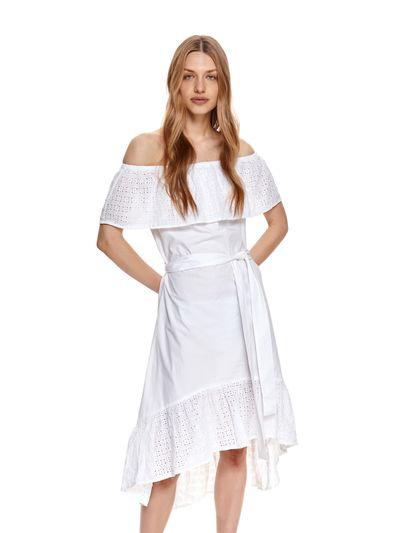 Bawełniana sukienka z asymetrycznym dołem i haftem richelieu