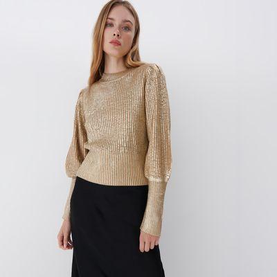 Sweter z bufiastym rękawem - Beżowy