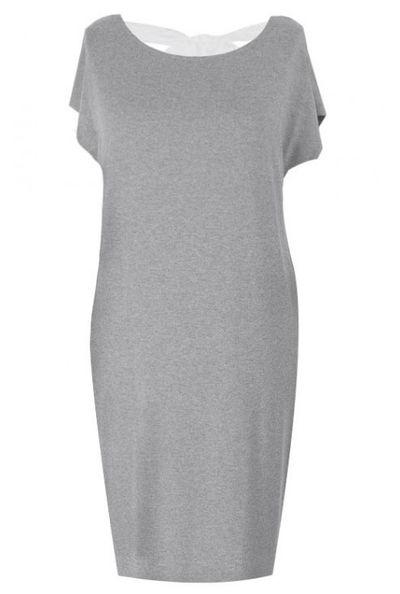 Prosta jasnoszara (melanż) sukienka z kokardą IZABELA