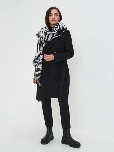Płaszcz z paskiem - Czarny
