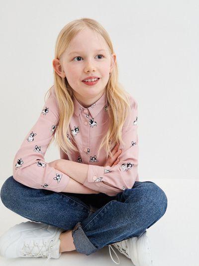 Wzorzysta koszula z wiskozy - Różowy