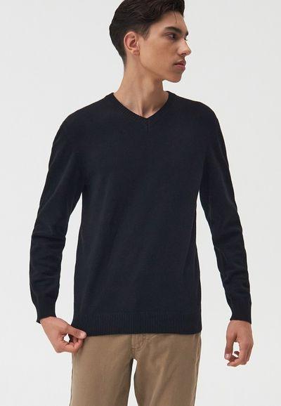Sweter z dekoltem w serek - Czarny