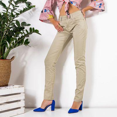Beżowe damskie proste materiałowe spodnie PLUS SIZE - Odzież