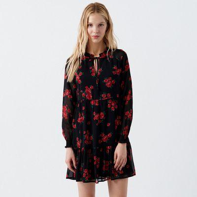 Sukienka w kwiaty z falbaną - Czerwony