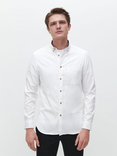 Koszula ze strukturalnej tkaniny - Biały