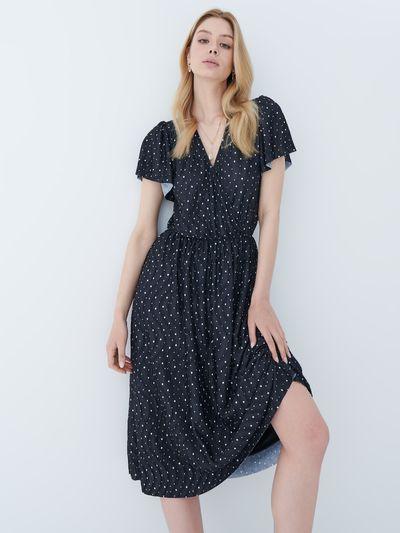 Sukienka w kropki - Czarny