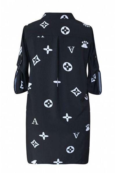 Czarna tuniko - koszula plus size z wzorem krótki rękaw - SUSANNY