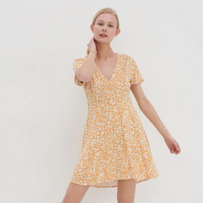 Sukienka z dekoltem w serek - Żółty