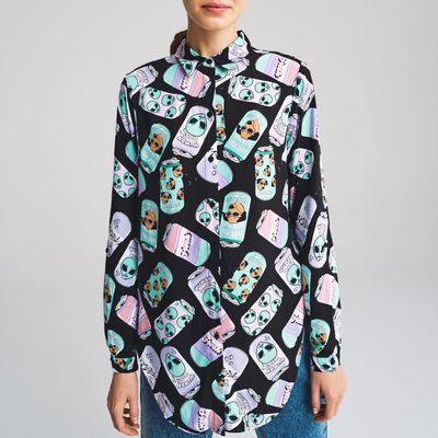 Wiskozowa koszula z nadrukiem - Wielobarwny