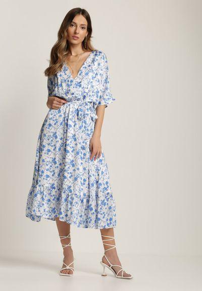 Biało-Niebieska Sukienka Synesi