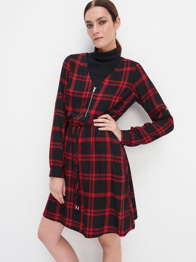 Wiskozowa sukienka w kratę - Czerwony