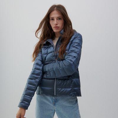 Pikowana kurtka z kapturem - Niebieski