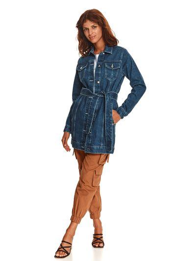 Jeansowa długa kurtka z wiązaniem