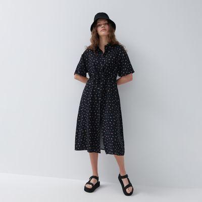 Sukienka midi z krótkim rękawem - Czarny