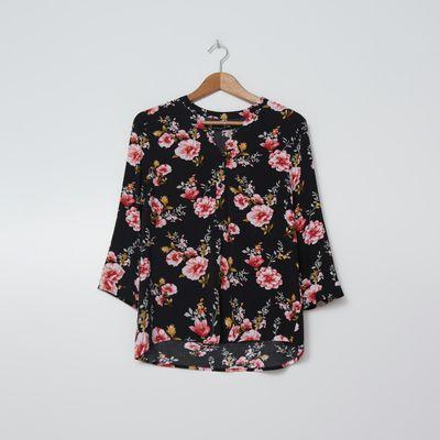 Wiskozowa bluzka w kwiaty - Wielobarwny