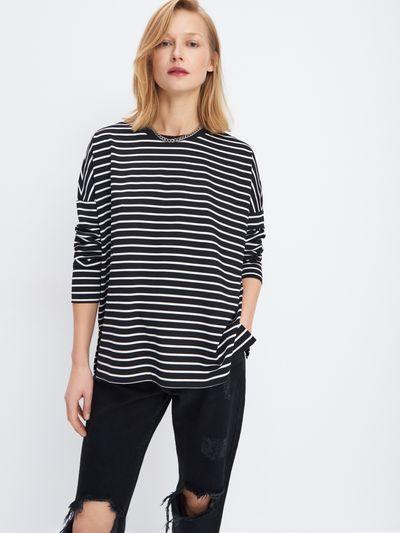 Bluzka oversize w paski - Czarny