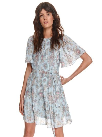 Plisowana sukienka z szerokimi rękawami