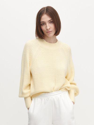 Sweter z wyraźnym splotem - Żółty