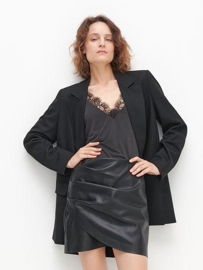 Drapowana spódnica - Czarny
