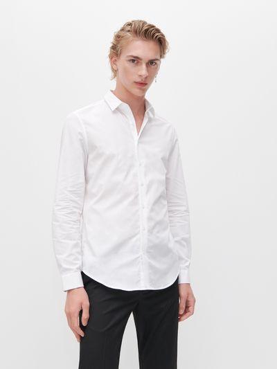 Koszula slim fit z bawełny organicznej - Biały