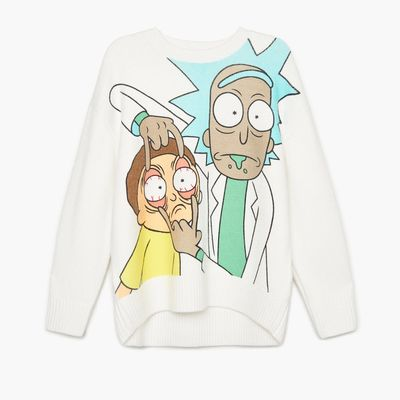 Sweter oversize Rick and Morty - Biały