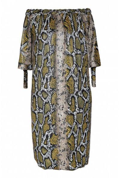 Brązowo-złota sukienka z wzorem w skórę węża - MARITA