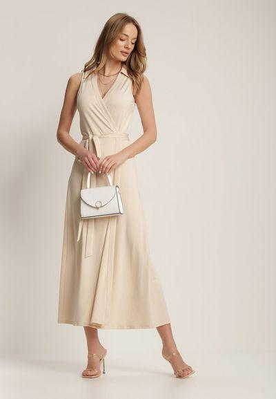 Jasnobeżowa Sukienka Crethallis