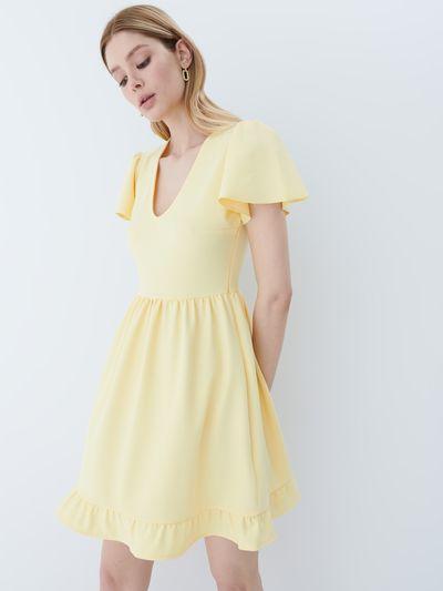 Sukienka z falbankami - Żółty