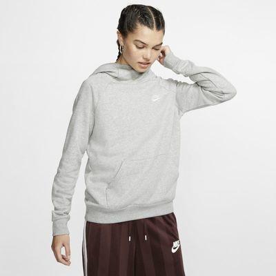 Damska dzianinowa bluza z kapturem i kominem Nike Sportswear Essential - Szary