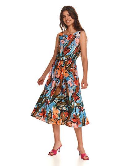 Rozkloszowana sukienka w kwiaty, bez rękawów