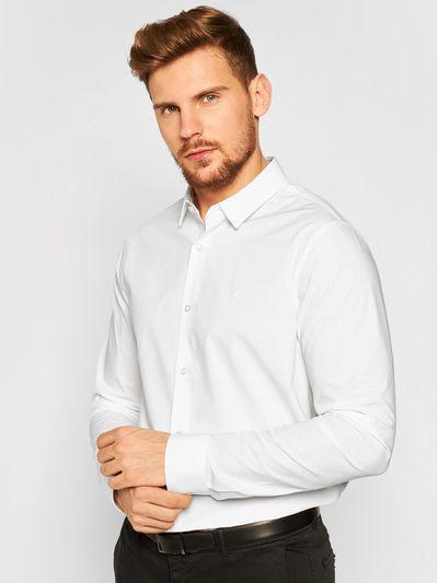 Calvin Klein Jeans Koszula Stretch Shirt J30J316085 Biały Slim Fit