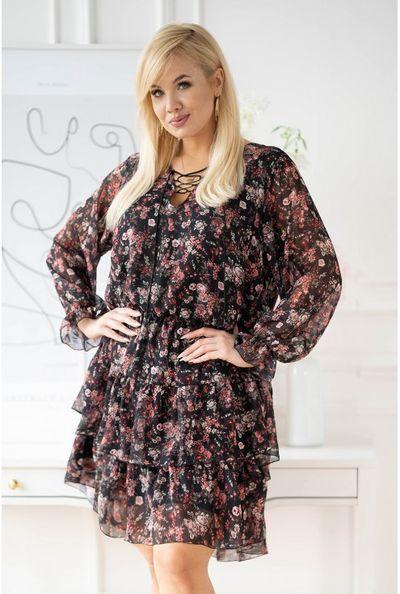 Czarna sukienka w drobne kwiaty z falbanami - LITIA