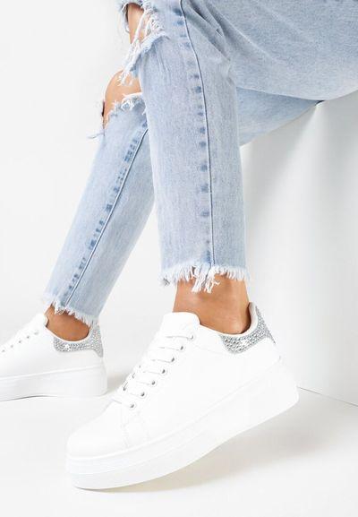 Biało-Srebrne Sneakersy Xyltyse