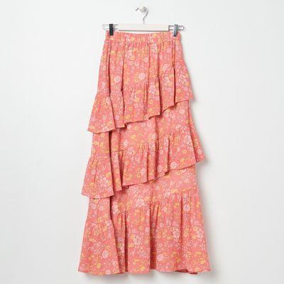 Spódnica maxi z falbanami - Wielobarwny