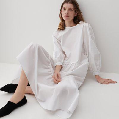 PREMIUM Bawełniana sukienka z falbanami - Kremowy