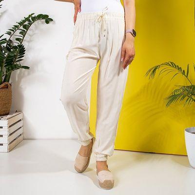 Damskie materiałowe spodnie w kolorze ecru PLUS SIZE - Odzież - Ecru