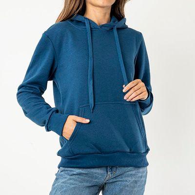 Ciemnoniebieska damska ocieplana bluza z kapturem - Odzież - Granatowy    Niebieski