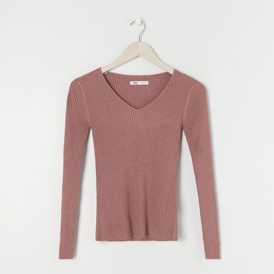 Prążkowany sweter - Fioletowy