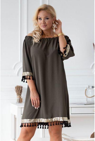 Oliwkowa sukienka hiszpanka z ozdobnymi taśmami – MERCY