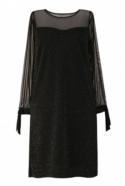 Czarna błyszcząca sukienka z wiązaniem na rękawie - Adessina