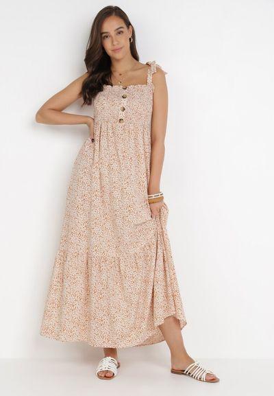 Beżowa Sukienka Adogenia
