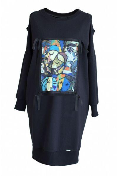 Dresowa sukienka z kolorową grafiką KEYS