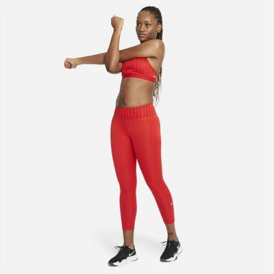 Damskie legginsy 7/8 ze średnim stanem i nadrukiem Nike Dri-FIT One Icon Clash - Czerwony