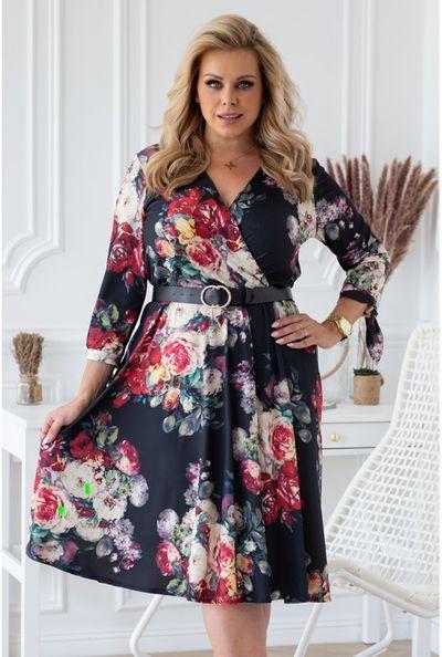 Czarna sukienka z wiązaniem przy rękawach - kolorowe kwiaty- AGATHE