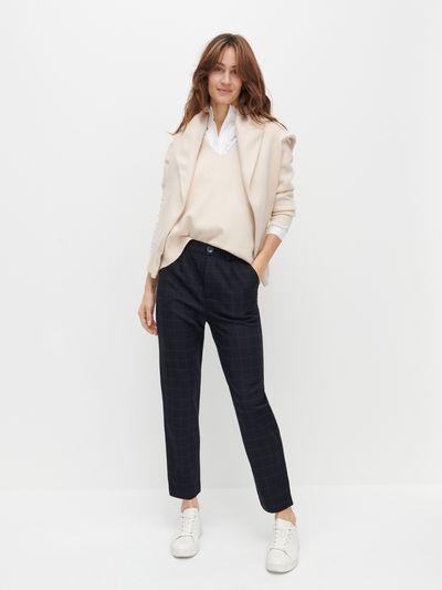 Spodnie chino z gumką w pasie - Granatowy